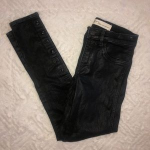 Gap Faux Leather Shiny Jeans with Button Detailing